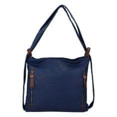 Paolo Bags Moderný koženkový kabelko batoh Lenka Stylish, tmavo modrý