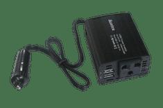Eurocase Měnič napětí DC/AC, 12V/230V, 150W, USB 2*5V/500mA, autozástrčka