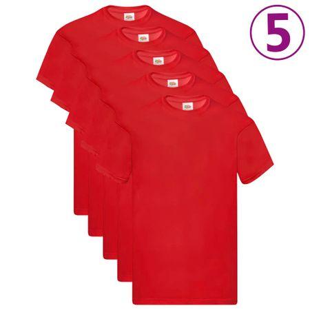 shumee Fruit of the Loom Oryginalne T-shirty, 5 szt., czerwone, S, bawełna