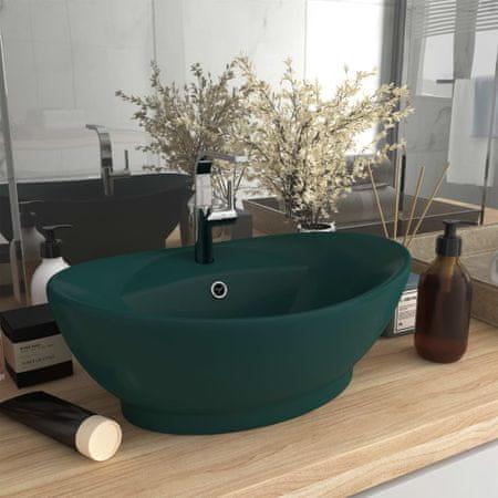 shumee Owalna umywalka z przelewem, matowa ciemna zieleń, 58,5x39 cm