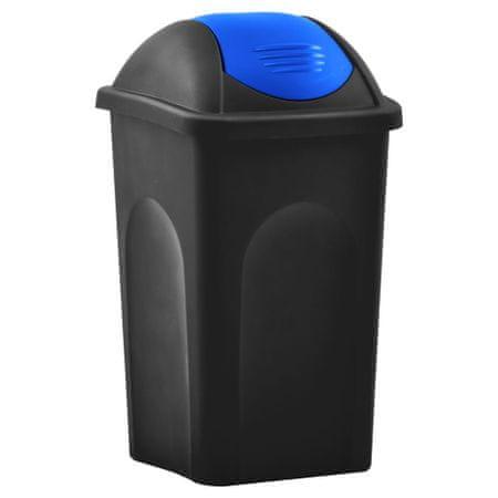 shumee Kosz na śmieci z uchylną klapą, 60 L, czarno-niebieski