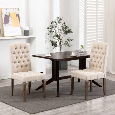 shumee Krzesła stołowe 2 szt., beżowe, stylizowane na lniane, tkanina