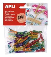 "Apli Mini kolíčky ""Creative"", dřevěné, různé barvy, 45ks"