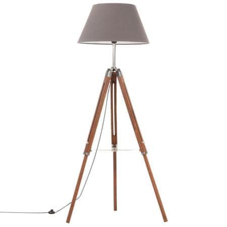 shumee Trinožna stoječa svetilka medeno rjava in siva tikovina 141 cm