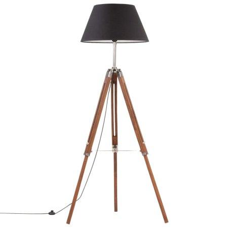 shumee Trinožna stoječa svetilka medeno rjava in črna tikovina 141 cm