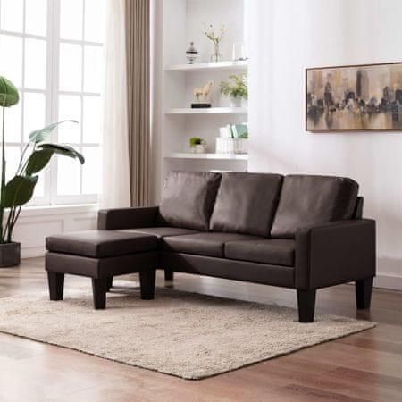 slomart Kavč trosed s stolčkom za noge rjavo umetno usnje