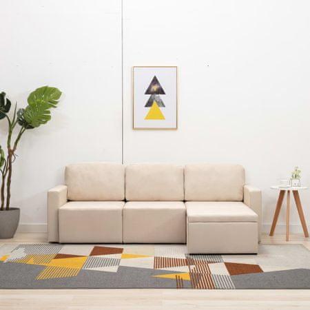 shumee 3-osobowa, rozkładana sofa modułowa, kremowa, tkanina