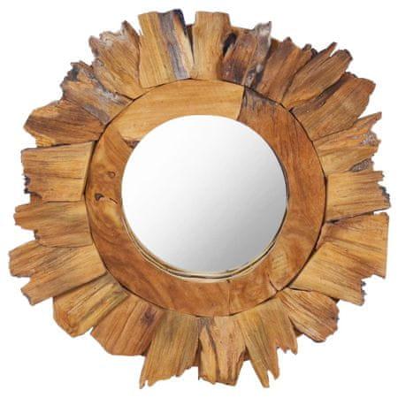 shumee Stensko ogledalo 40 cm iz tikovine okroglo