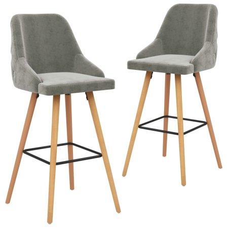 shumee Krzesła barowe, 2 szt., jasnoszare, obite aksamitem