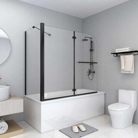 shumee fekete ESG zuhanykabin összecsukható ajtóval 120 x 68 x 130 cm