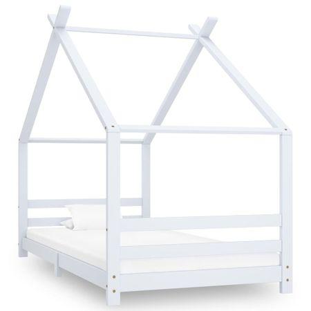 shumee Otroški posteljni okvir bel iz trdne borovine 90x200 cm