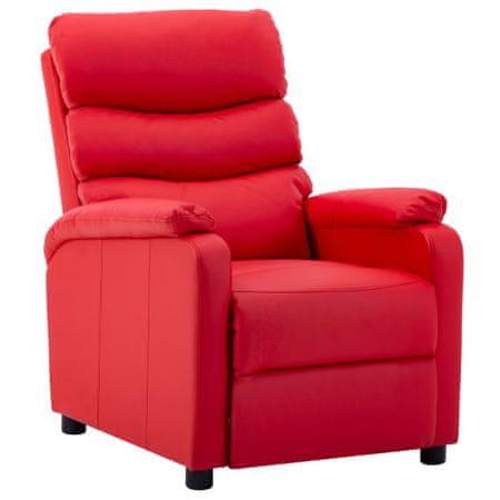 shumee Fotelj iz umetnega usnja rdeč