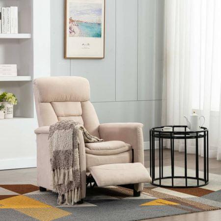 shumee Rozkładany fotel, kremowy, sztuczna skóra zamszowa
