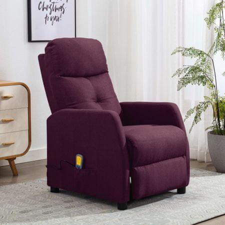 shumee Rozkładany fotel masujący, fioletowy, tapicerowany tkaniną