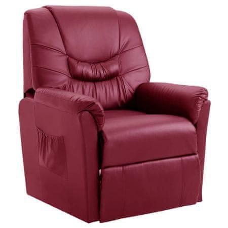 shumee Fotel rozkładany, czerwone wino, sztuczna skóra