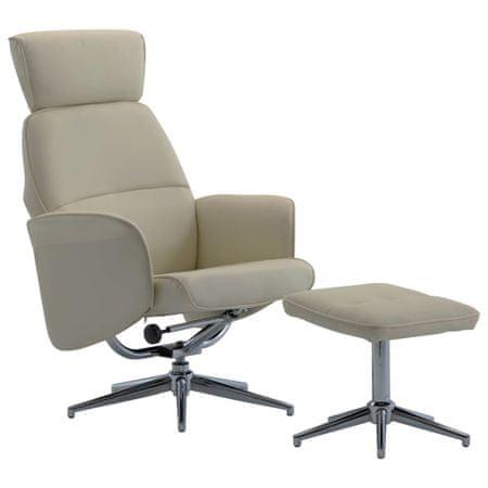 shumee Rozkładany fotel z podnóżkiem, cappuccino, sztuczna skóra
