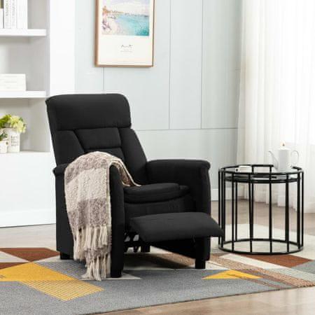 shumee Rozkładany fotel, czarny, sztuczna skóra zamszowa