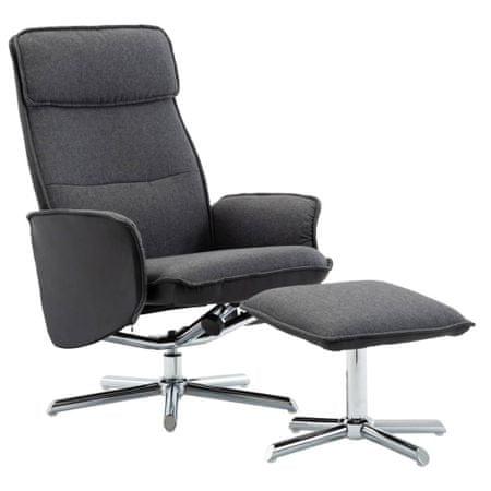 shumee Naslanjač s stolčkom za noge temno sivo in črno blago