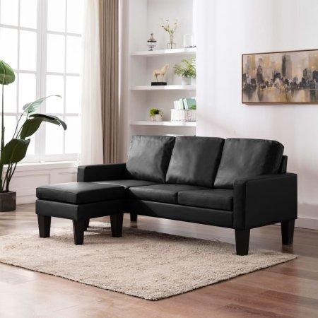 slomart Kavč trosed s stolčkom za noge črno umetno usnje