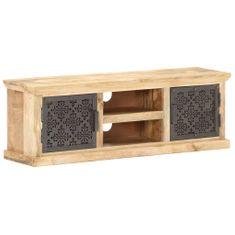shumee TV skrinka oceľovými dvierkami 120x30x40 cm masívne mangovníkové drevo