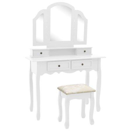 shumee fehér császárfa fésülködőasztal-szett ülőkével 100x40x146 cm