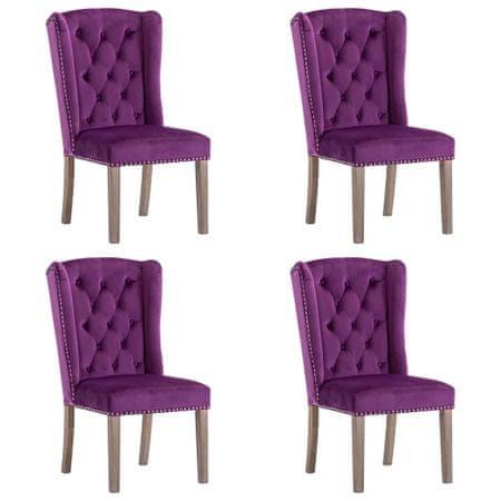 shumee Krzesła stołowe, 4 szt., fioletowe, aksamitne