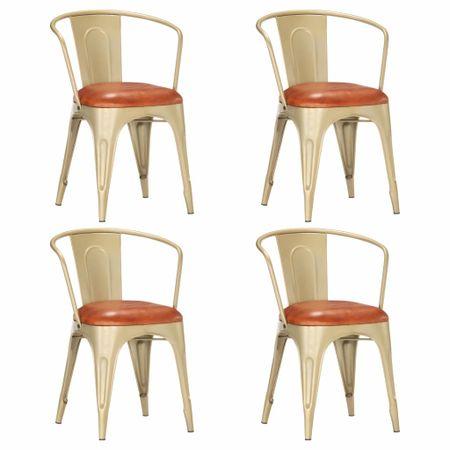slomart Jedilni stoli 4 kosi rjavo pravo usnje