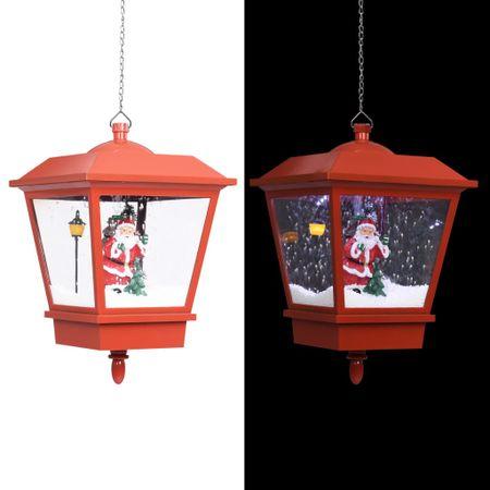 shumee Božična viseča svetilka LED z Božičkom rdeča 27x27x45 cm