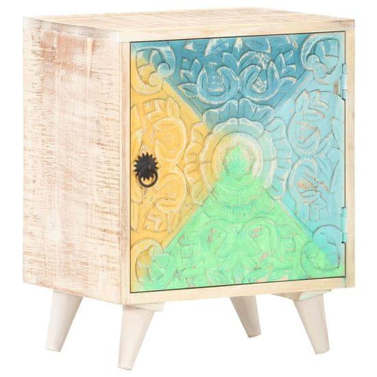 shumee Vyřezávaný noční stolek 40 x 30 x 50 cm masivní akáciové dřevo