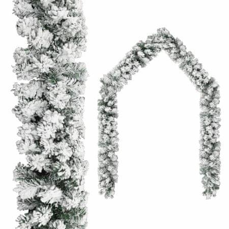 shumee zöld PVC karácsonyi füzér pelyhes hóval 10 m