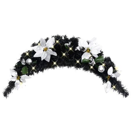 shumee Božični okras z LED lučkami črn 90 cm PVC