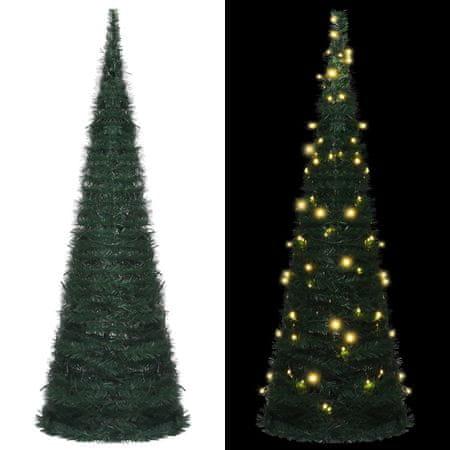 shumee zöld összecsukható LED-es zsinórkarácsonyfa 180 cm