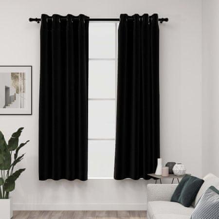 shumee 2 db fekete, vászonhatású sötétítőfüggöny fűzőkarikával 140 x 175 cm