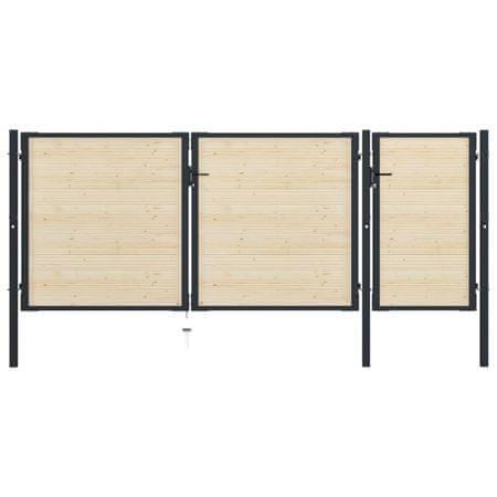shumee acél és lucfenyő kerítéskapu 413 x 200 cm