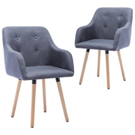 shumee Jedilni stoli 2 kosa svetlo sivo blago
