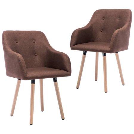 shumee Krzesła stołowe, 2 szt., brązowe, tapicerowane tkaniną