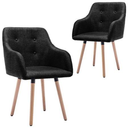 shumee Krzesła stołowe, 2 szt., czarne, tapicerowane tkaniną