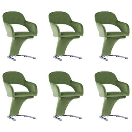 shumee Krzesła stołowe, 6 szt., zielone, aksamitne