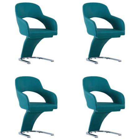 shumee Krzesła stołowe, 4 szt., niebieskie, sztuczna skóra