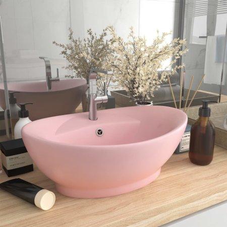 shumee ovális matt rózsaszín kerámia mosdókagyló túlfolyóval 58,5x39cm