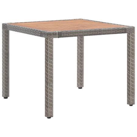 shumee szürke polyrattan és tömör akácfa kerti asztal 90 x 90 x 75 cm
