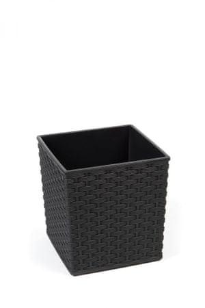 Kraftika Műanyag virágcserép yucca rattan 300x300 mm, fekete