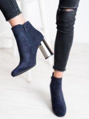 Moderní modré dámské kotníčkové boty na širokém podpatku