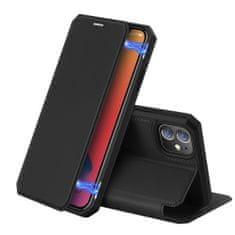 Dux Ducis Skin X knížkové kožené pouzdro na iPhone 12 mini, černé