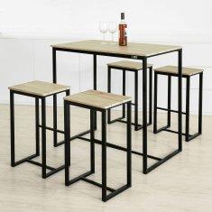 SoBuy OGT15-N 5dílný barový stůl se židlemi, jídelní stůl, vysoký stůl, bistro stůl se 4 barovými stoličkami sedací skupina