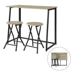 SoBuy OGT18-N 3dílný jídelní stůl, skládací stůl se 2 stoličkami, zahradní posezení, kuchyňský stůl
