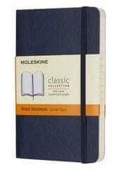 Moleskine bilježnica, mala, s crtama, plava, meki uvez