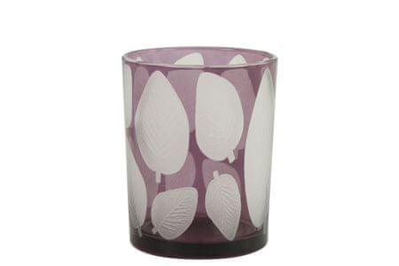 Kraftika Üveg gyertyatartó zora, lila levél 12, 5x10 cm