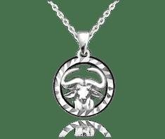 MINET Stříbrný náhrdelník MINET Zodiac znamení BÝK