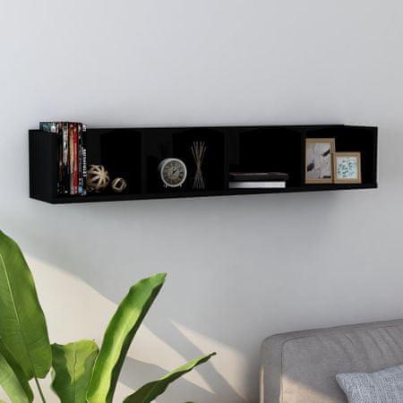 shumee fekete magasfényű forgácslap CD-tartó fali polc 100 x 18 x 18 cm